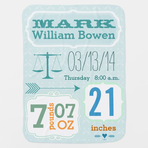 Personalized Baby Boy Stats Blanket Baby Blanket
