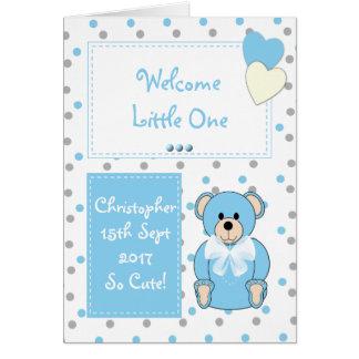 Personalized Baby Boy teddy bear blue Card