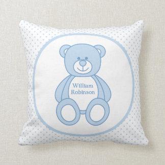 Personalized Baby Boy Teddy Bear Pillow