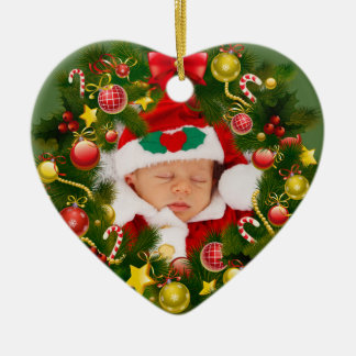 Personalized Baby Christmas Wreath Tree Ornament