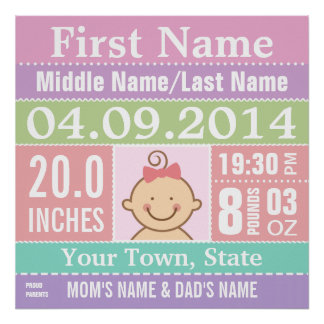 Personalized Baby Girl Birth Stats Poster