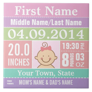Personalized Baby Girl Birth Stats Square Tile
