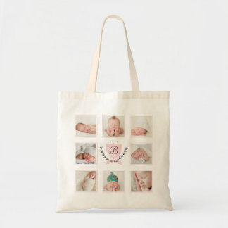 PERSONALIZED BABY GIRL PHOTO COLLAGE WITH WREATH BUDGET TOTE BAG