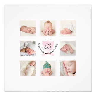 PERSONALIZED BABY GIRL PHOTO COLLAGE WITH WREATH
