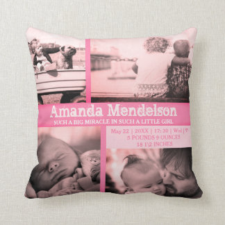 Personalized baby girl pink birth stat Cushion