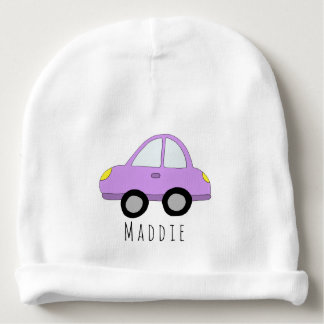 Personalized Baby Girl Pink Car Vehicle with Name Baby Beanie