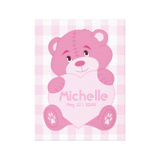 Personalized baby girl pink teddy bear monogram canvas print
