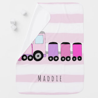 Personalized Baby Girl Pink Train with Name Baby Blanket