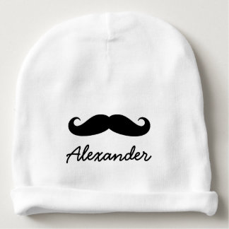 Personalized baby hat with funny black mustache baby beanie