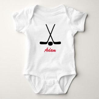 Personalized Baby Hockey Sticks Puck Team Sports Baby Bodysuit