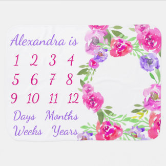 Personalized Baby Month Week Age Milestone Growth Baby Blanket