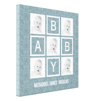 Personalized Baby Name and Photos Stretched Canvas Print