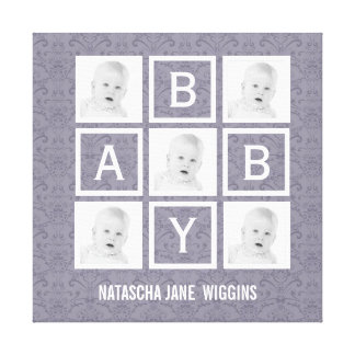 Personalized Baby Name and Photos Gallery Wrap Canvas