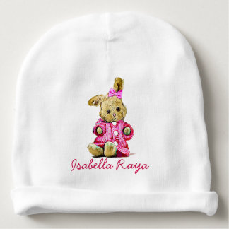 Personalized Baby Name Cap for Newborn Pink Bunny Baby Beanie