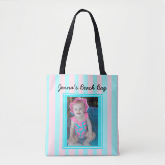 Personalized Baby Photo Beach Bag Pink & Blue