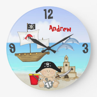 Personalized Baby Pirate Beach Wall Clock