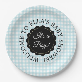 Personalized Baby Shower Blue Chevron Paper Plates