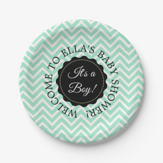 Personalized Baby Shower Sage Chevron Paper Plates
