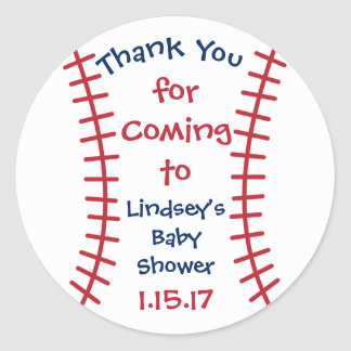 Personalized Baby Shower Stickers- Baseball Theme Classic Round Sticker
