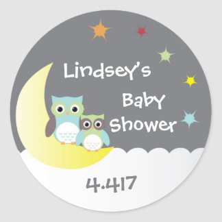 Personalized Baby Shower Stickers with Owls