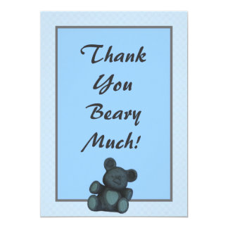 Personalized Baby shower thank you teddy bear 5x7 Paper Invitation Card