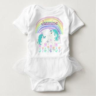 Personalized  Baby Tutu Unicorn and Rainbow Baby Bodysuit