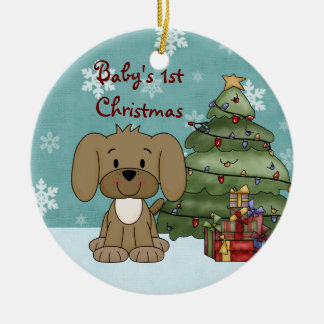 Personalized Baby's 1st Christmas Dog Ornament