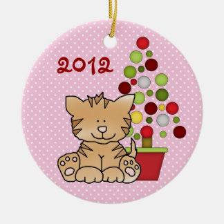 Personalized Baby's 1st Christmas Kitty Cat Girls Round Ceramic Decoration