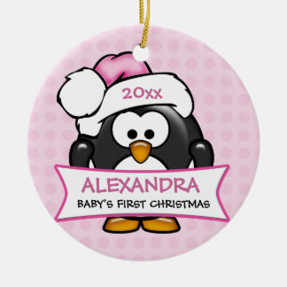 Personalized Baby's First Christmas Penguin Round Ceramic Decoration