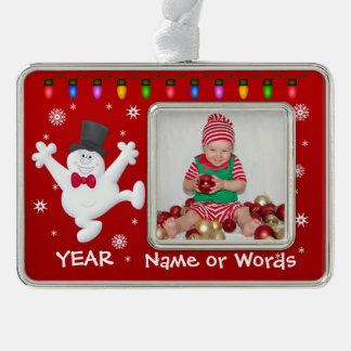 Personalized Baby's First Christmas Photo Ornament Silver Plated Framed Ornament