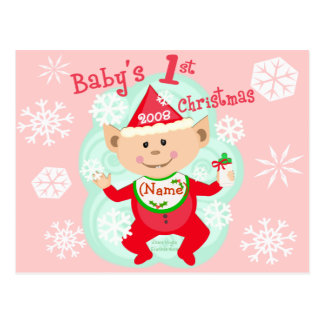 Personalized Baby's First Christmas Postcard