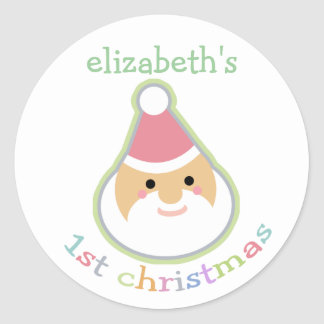 Personalized Baby's First Christmas Classic Round Sticker