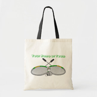 Personalized Badminton Player Crossed Racquets Tote Bag