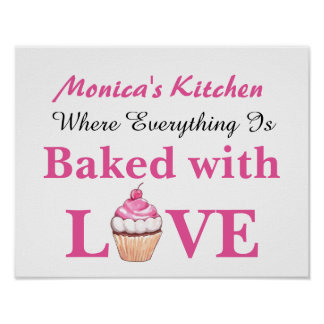 Personalized Baked with Love Cupcake Poster