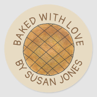 Personalized Baked with Love Peanut Butter Cookie Classic Round Sticker
