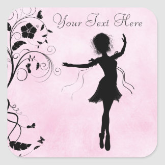 Personalized Ballerina and Flowers Stickers