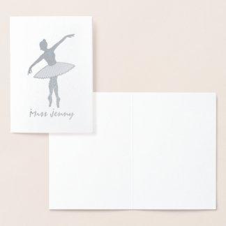 Personalized Ballerina Ballet Dance Teacher Dancer Foil Card