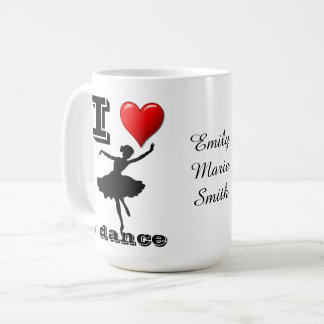 Personalized Ballerina I Love to Dance Mug