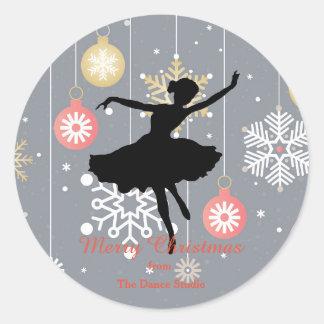 Personalized Ballerina Silhouette Christmas Classic Round Sticker