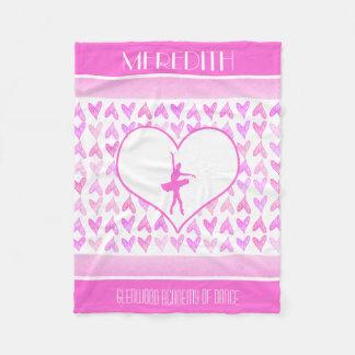 Personalized Ballet Dancer Pink Watercolor Hearts Fleece Blanket