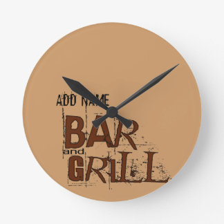 Personalized Bar and Grill BBQ Dad Food Eat Round Clock