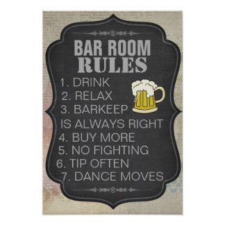Personalized Bar Room Rules Poster