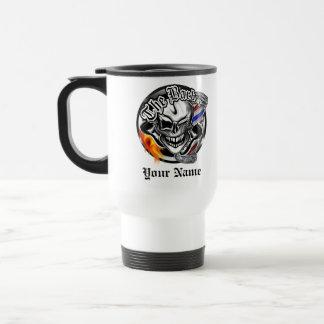 Personalized Barber Skull with Flaming Razor Mug