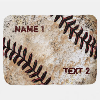 Personalized Baseball Baby Blanket Vintage Decor
