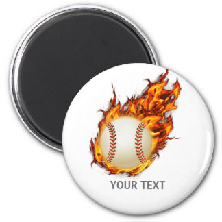 Personalized Baseball Ball on Fire Magnet