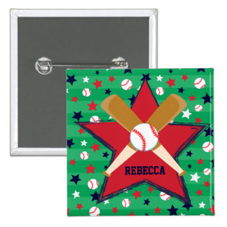 Personalized Baseball bats ball and stars Pinback Buttons