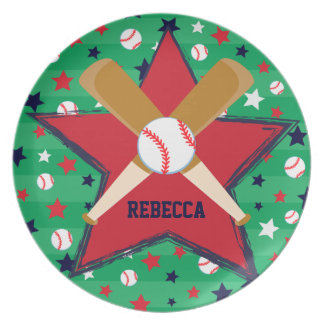 Personalized Baseball bats ball and stars Dinner Plate