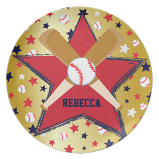 Personalized Baseball bats ball and stars Party Plates