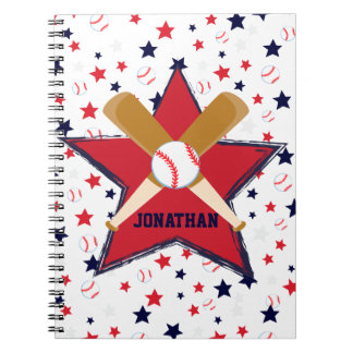 Personalized Baseball bats ball and stars Spiral Note Book