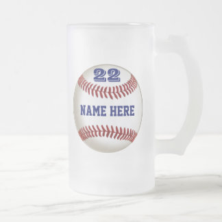 Personalized Baseball Glass Frosted or other style Frosted Glass Mug